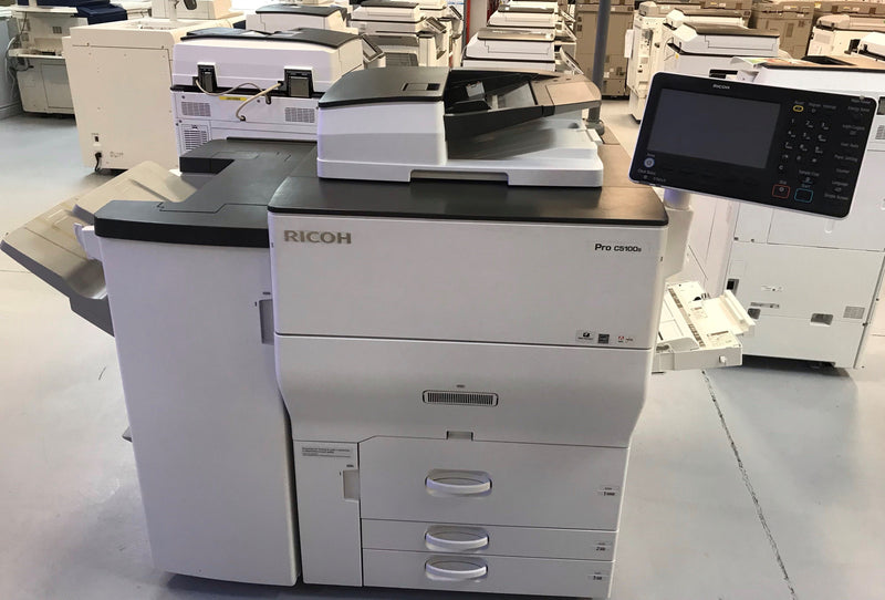 Absolute Toner Pre-owned Ricoh Pro C5100S C5100 5100 Color Laser Production Printer Copier 65PPM with Finisher Showroom Color Copiers