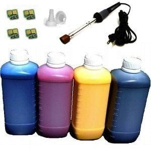 Compatible Refill for HP 501A/502A Toner Cartridge 4 Bottles with 4 Chips and Tool (Q6470A Q6471A Q6472A Q6473A)