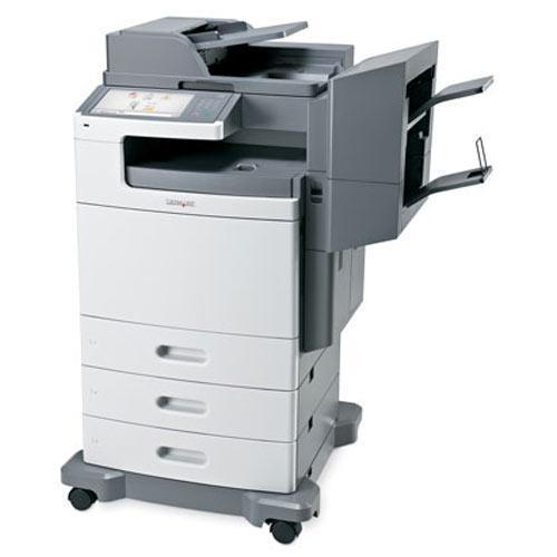 Pre-owned REPOSSESSED Lexmark XS796de Multifunction Color Copier Printer Scanner Fax Finisher Only 33K Pages Printed, Large Colur LCD panel