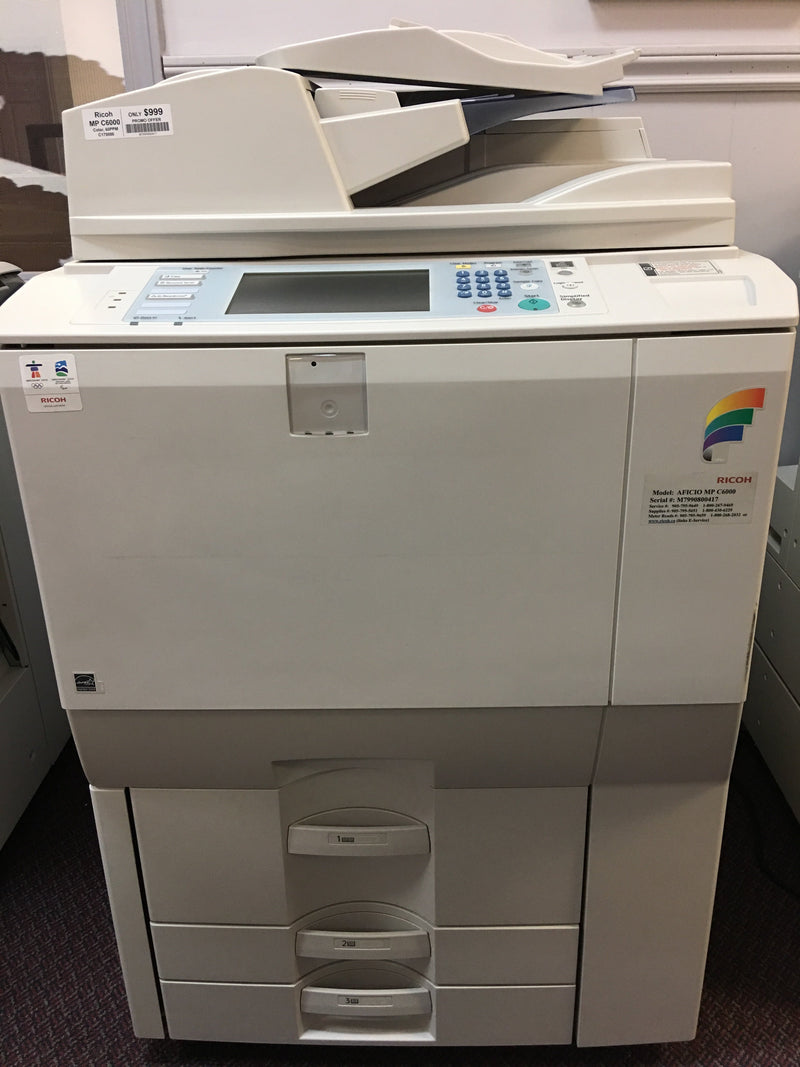 Pre-owned Ricoh Aficio MP C6000 High Speed 60 PPM Color Printer Copier - Great deal for 60PPM copier