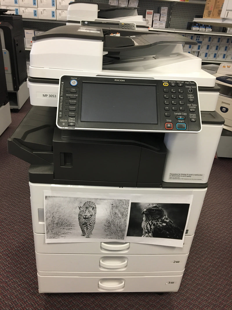 Absolute Toner Ricoh MP 3053 Black and White Copy Machine Color Scanner Pre-Owned - 171k Pages Printed Warehouse Copier
