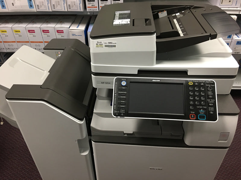 Pre-owned Ricoh MP 5054 Black and White Laser Multifunction Printer Copier Scanner with Finisher