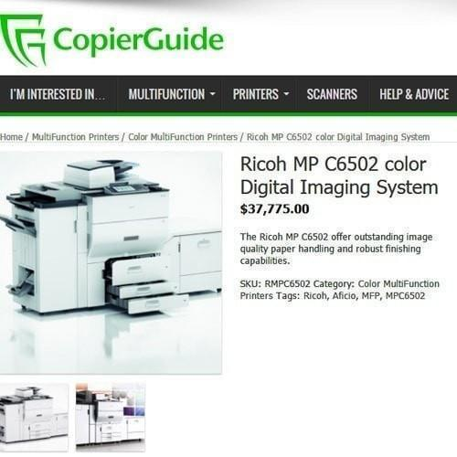 Absolute Toner Ricoh Multifunction C6502 COLOUR PRINTER. Warehouse Copier