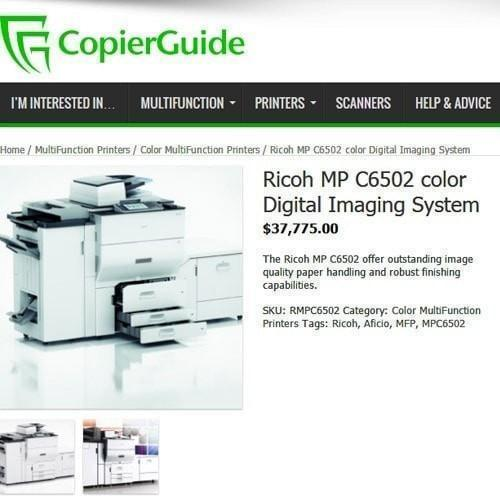 Absolute Toner MP C6502 Color Laser High Speed 65 PPM Printer Copier Scanner 12x18 Office Copiers In Warehouse