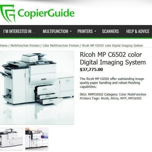 Absolute Toner $69/month - REPOSSESSED Ricoh MP C6502 65ppm Color Laser High Speed 65 PPM Production level Printer Office Copier Scanner 13x19 12x18 Showroom Color Copiers