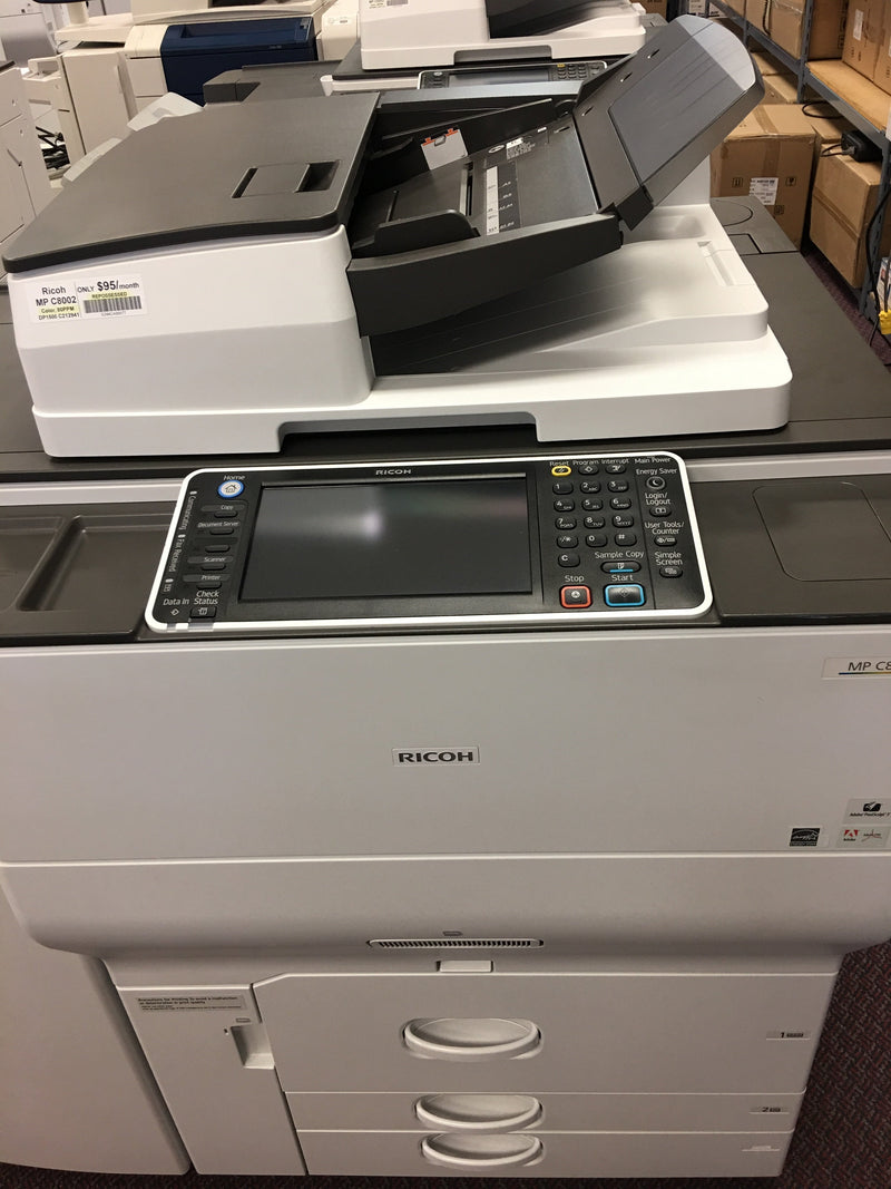 Pre-owned Ricoh MP C8002 80PPM Color Laser Production Printer Copier Scanner Finisher 13x19 12x18 11x17