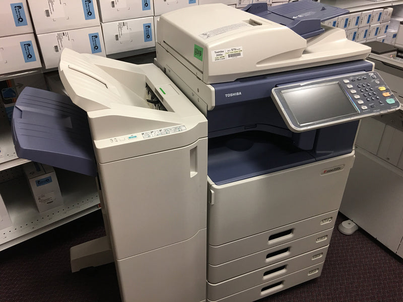 Absolute Toner REPOSSESSED Toshiba e-STUDIO 3555c Color Copier With Finisher 11x17 Office Copiers In Warehouse