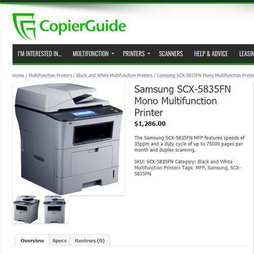 Promo Offer Samsung SCX-5835FN Monochrome Multifunction Laser Printer Copier Scanner Fax LCD Screen USB