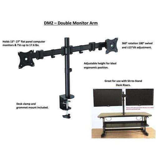 Absolute Toner Rocelco DM2 Dual Monitor Mount for Desks and Sit & Stand Desk Risers Promotional Supplies