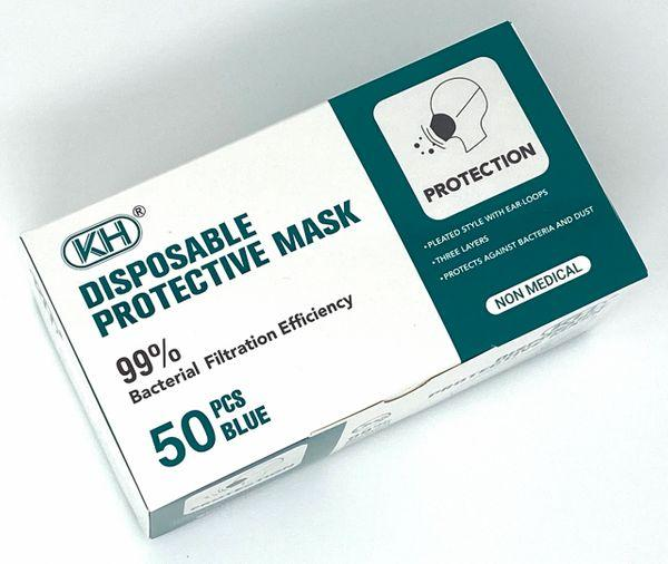 Absolute Toner From $6.99 - MADE OF 99% HIGH FILTRATION FABRIC - TOP BRAND KH®️ Disposable 3 Ply Filter Safety Face Mask with adjustable bridge clip Face Mask