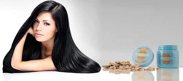 beautiful silky hair women with ghassoul hair mask with argan oil and black soap