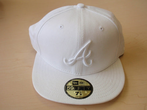 Atlanta Braves Solid White Fitted Hat