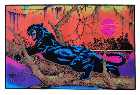 Felt Black Light Poster - 1973 - Jungle Cat