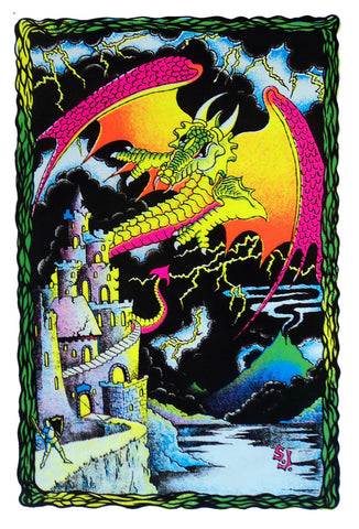 Felt Black Light Poster - 2000 - Dragon Castle