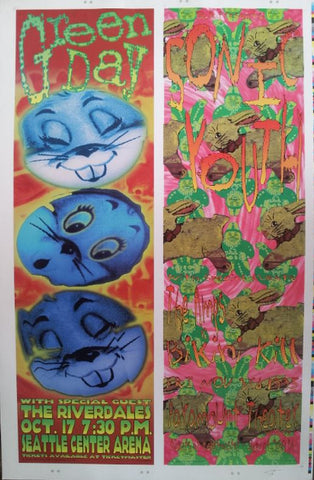 Frank Kozik - 1995 - Green Day/Sonic Youth Poster (Uncut Signed)