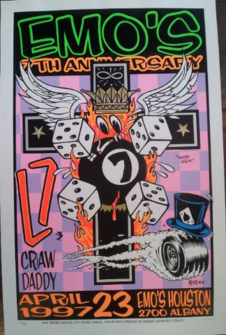 Frank Kozik - 1997 - Emo's 7th Anniversary Houston Poster