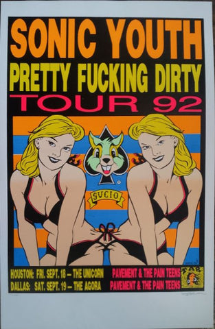 Frank Kozik - 1992 - Sonic Youth Tour Poster