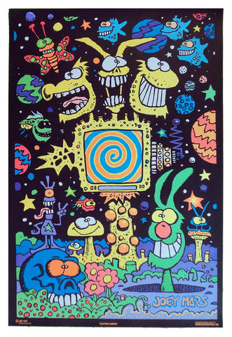 Felt Black Light Poster - 1997 - Joey Mars Electric Garden
