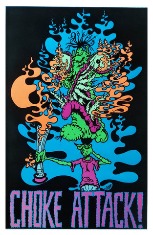 Felt Black Light Poster - 1998 - Choke Attack