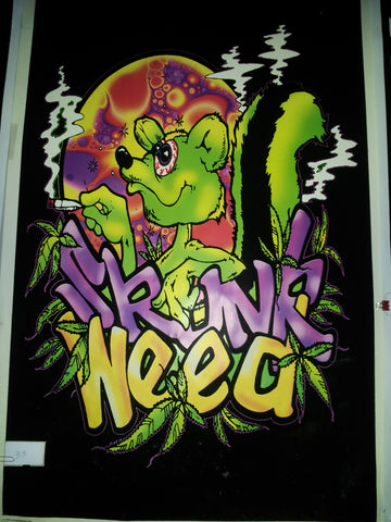 "Felt Black Light Poster - ""Skunk Weed"""