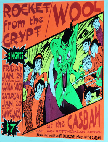 Lindsey Kuhn - 1993 - Rocket From The Crypt Concert Poster