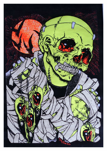 Felt Black Light Poster - 1994 - Pushead Bird Catcher