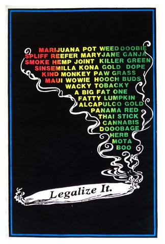 Felt Black Light Poster - 1996 - Legalize It