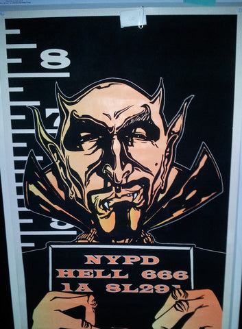 Felt Black Light Poster - 1996 - Devil Mugshot