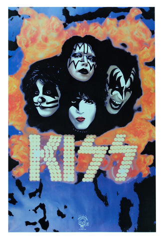 Felt Black Light Poster - 1995 - Kiss Makeup