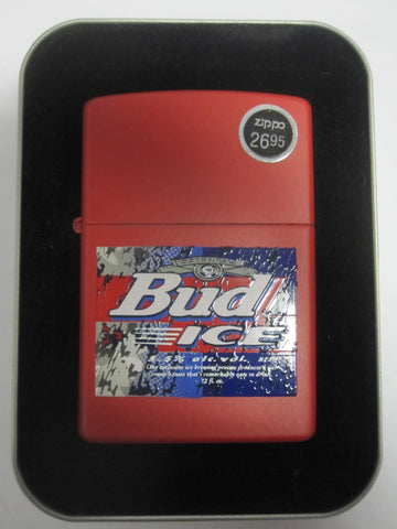 Zippo Lighter - Alcohol - Budweiser Bud Ice Red