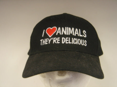 I Love Animals...They're Delicious Embroidered Hat
