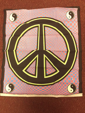 Vintage Tapestry - Blacklight -  Peace Sign