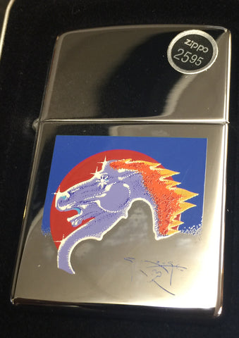 Zippo Lighter - Stanley Mouse - Flaming Horse (Chrome)
