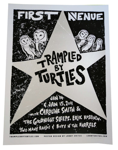 Lonny Unitus - 2011 - Trampled By Turtles, First Avenue Concert Poster