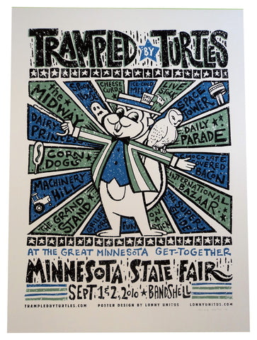 Lonny Unitus - 2010 - Trampled By Turtles, MN State Fair Concert Poster
