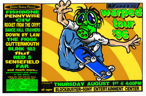 Adam Swinbourne - 1996 - Vans Warped Tour Concert Poster