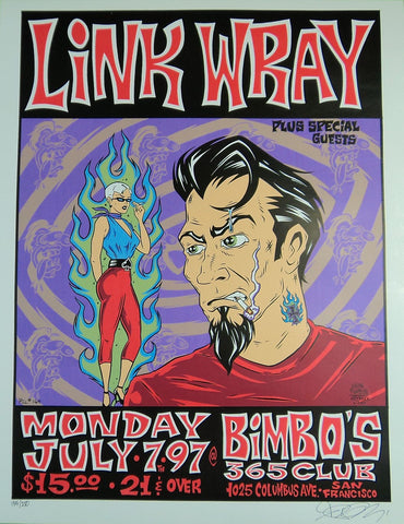 Alan Forbes - 1997 - Link Wray Concert Poster