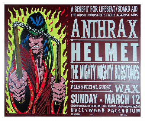 TAZ - 1995 - Anthrax (Benefit For Lifebeat) Concert Poster