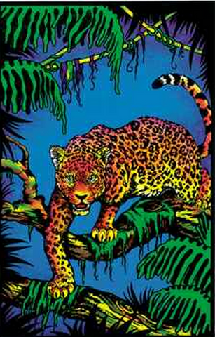"Felt Black Light Poster - ""Jaguar"""