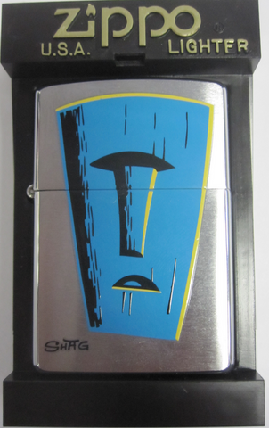 Zippo Lighter - Flame Rite - Shag Blue Tiki Mask