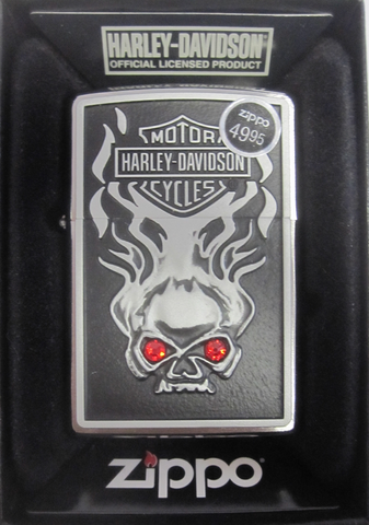 Zippo Lighter - Harley Davidson - Skull Red Crystal