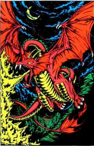 "Felt Black Light Poster - ""Fire Dragon"""