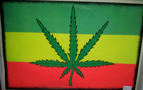 "Felt Black Light Poster - ""Jamaican Leaf"""