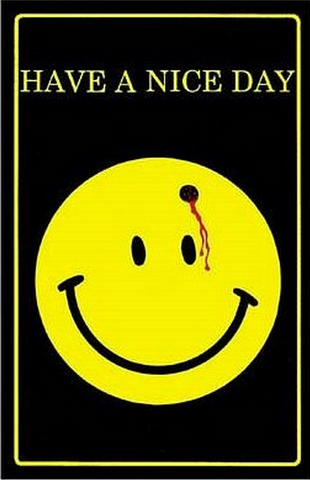 "Felt Black Light Poster - ""Smiley Face Bullet"" (Have a Nice Day)"