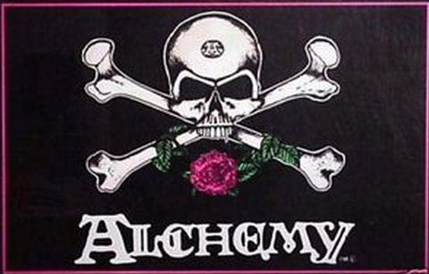 Felt Black Light Poster - 1994 - Alchemy Skull