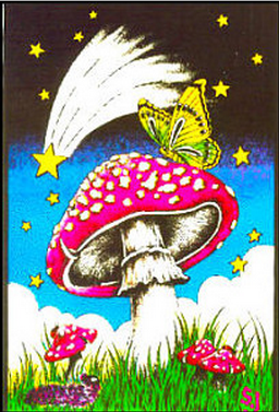 "Felt Black Light Poster - ""Butterfly Mushroom"""