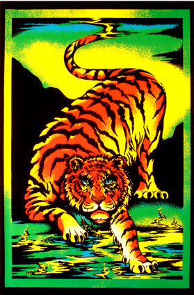 Felt Black Light Poster - 19xx - Tiger