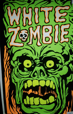 Felt Black Light Poster - 1993 - White Zombie
