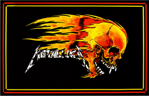 "Felt Black Light Poster - ""Flaming Skull"" (Metallica)"