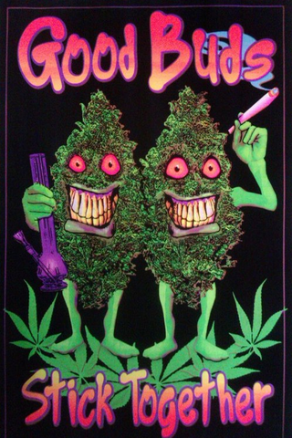 "Felt Black Light Poster - ""Good Buds"""